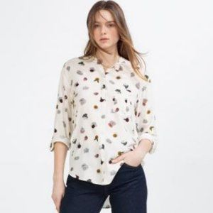 ZARA Floral Top Button Down Blouse Utility Roll-up Sleeves XS